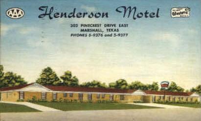 Henderson Hotel - Marshall, Texas TX Postcard