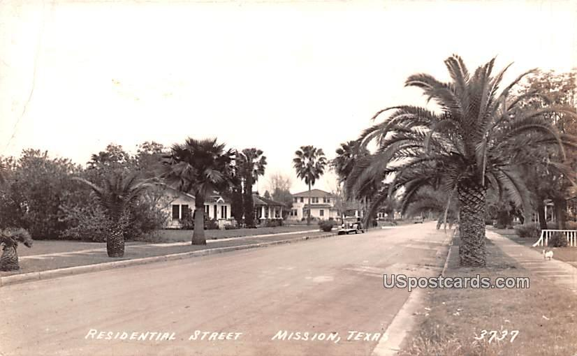 Residential Street - Mission, Texas TX Postcard