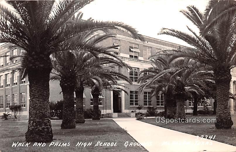 Wak and Palms High School Grounds - McAllen, Texas TX Postcard