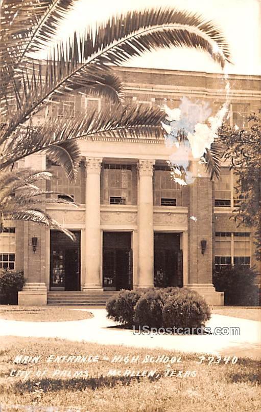 Main Entrance High School - McAllen, Texas TX Postcard