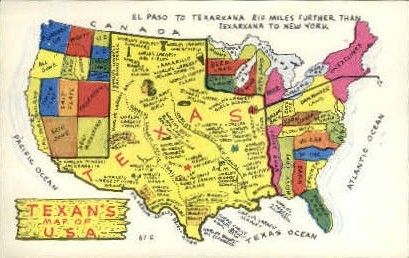 texan's Map of The United States - Misc, Texas TX Postcard