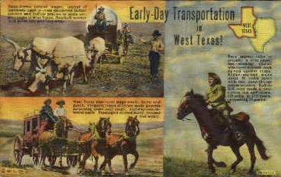 Early Day Transportation - Misc, Texas TX Postcard