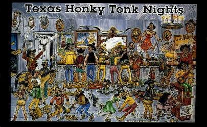 Honky Tonk Nights - Misc, Texas TX Postcard