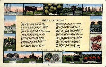 Down In Texas - Misc Postcard
