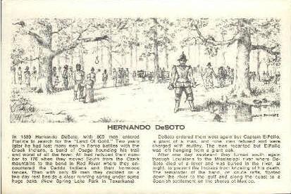 Hernando DeSoto - Misc, Texas TX Postcard