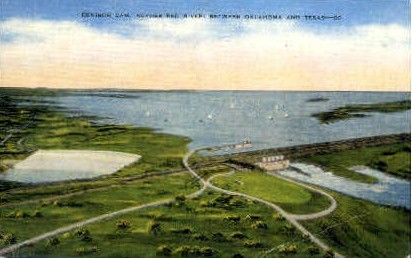 Denison Dam - Misc, Texas TX Postcard