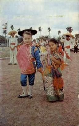Children in Fiesta Clothing - Misc, Texas TX Postcard