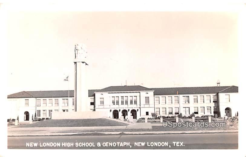New London High School & Cenotaph - Texas TX Postcard