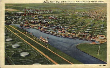 Aerial View - Port Arthur, Texas TX Postcard
