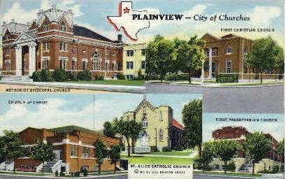 City Of Churches - Plainview, Texas TX Postcard