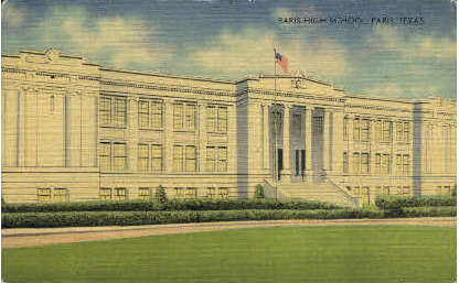 Paris High School - Texas TX Postcard