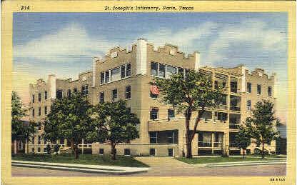 St. Joseph's Infirmary  - Paris, Texas TX Postcard