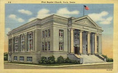 First Baptist Church - Paris, Texas TX Postcard