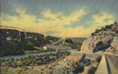Highway and Bridge - Pecos, Texas TX Postcard