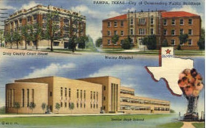 City Of Outstanding Public Buildings - Pampa, Texas TX Postcard