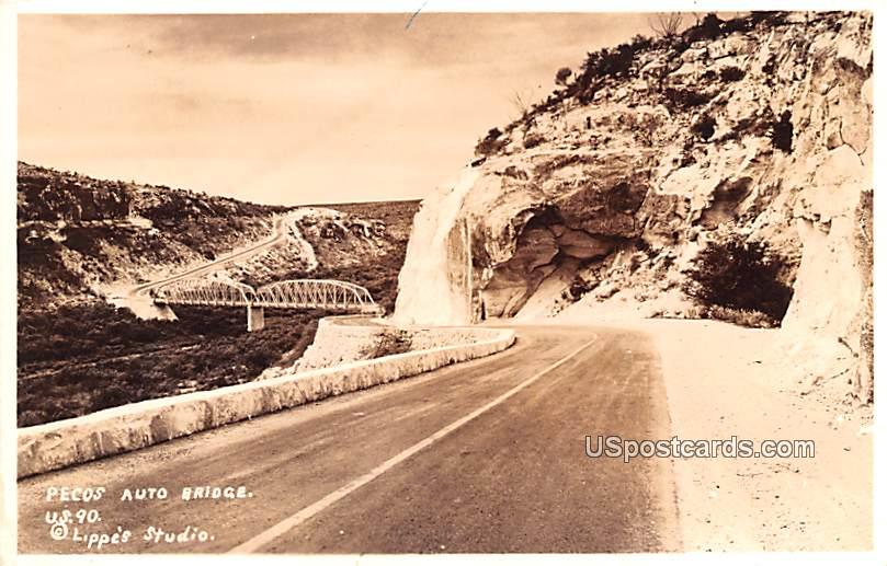 Pecos Auto Bridge - Texas TX Postcard