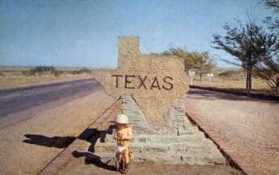 Stone Entrance Marker - Misc, Texas TX Postcard