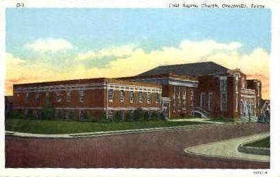 First Baptist Church - Greenville, Texas TX Postcard