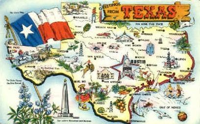 Texas Map - Misc Postcard