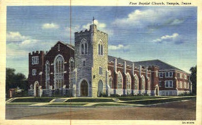 First Baptist Church - Temple, Texas TX Postcard