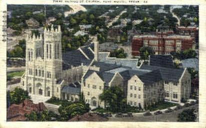 First Methodtist Church - Fort Worth, Texas TX Postcard