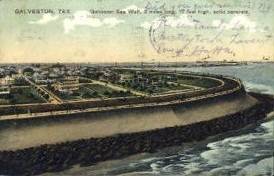 Galveston Sea Wall - Texas TX Postcard