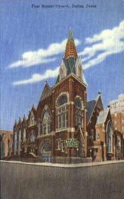 First Baptist Church - Dallas, Texas TX Postcard