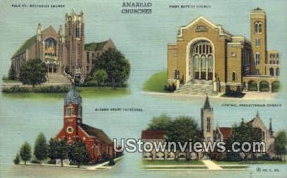 Amarillo Churches - Texas TX Postcard