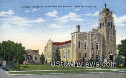 Catholic Sacred Heart Church & Rectory - Abilene, Texas TX Postcard