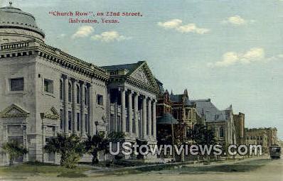 Church Row - Galveston, Texas TX Postcard