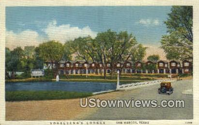 Vogelsang's Lodges - San Marcos, Texas TX Postcard