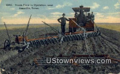 Steam Plow - Amarillo, Texas TX Postcard