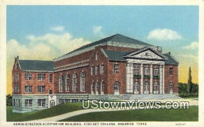 Admin Auditorium Bldg - Sherman, Texas TX Postcard