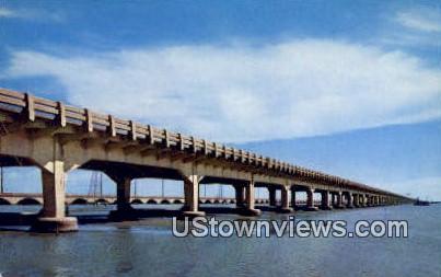 Galveston's Two Mile Long Causeway - Texas TX Postcard