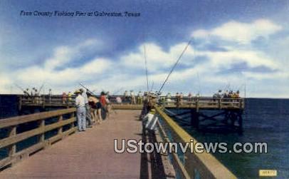 Free County Fishing Pier - Galveston, Texas TX Postcard