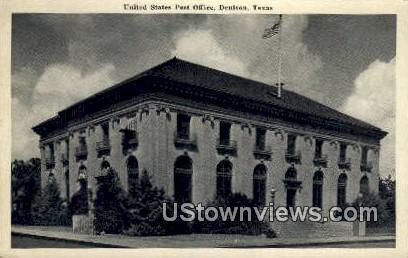 US Post Office - Denison, Texas TX Postcard