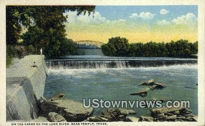 Banks, Leon River - Temple, Texas TX Postcard