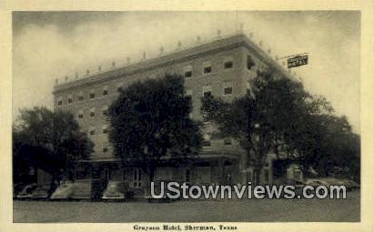 Grayson Hotel - Sherman, Texas TX Postcard