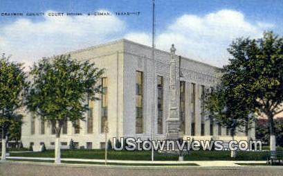 Grayson County Court House - Sherman, Texas TX Postcard