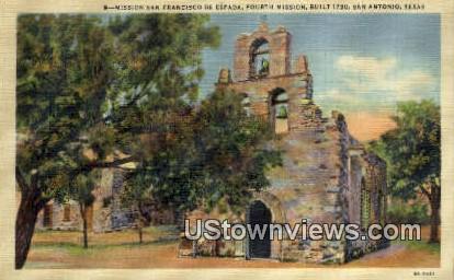 Mission San Francisco De Espada - San Antonio, Texas TX Postcard