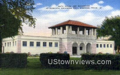 Bath House & Bandstand - Sherman, Texas TX Postcard