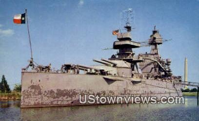 Battleship Texas, San Jacinto Monument - Houston Postcard