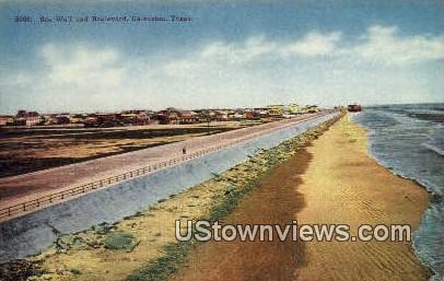 Sea Wall & Blvd - Galveston, Texas TX Postcard