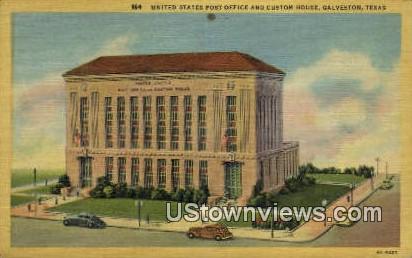 US Post Office - Galveston, Texas TX Postcard