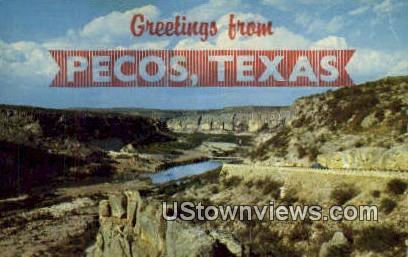 Pecos River Canyon - Texas TX Postcard