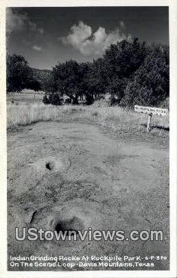 Indian Grinding Rocks - Davis Mountains, Texas TX Postcard