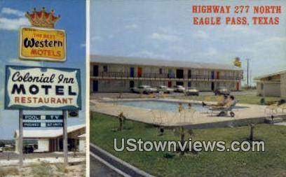 Colonial Inn Motel & Restaurant - Eagle Pass, Texas TX Postcard