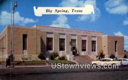 US Post Office - Big Spring, Texas TX Postcard