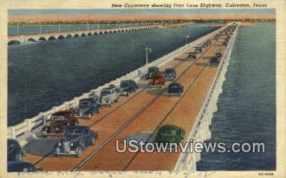 New Causeway, Four Lane Highway - Galveston, Texas TX Postcard