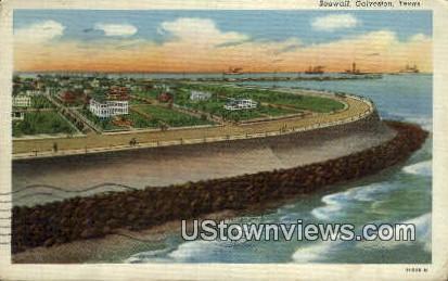 Seawall - Galveston, Texas TX Postcard